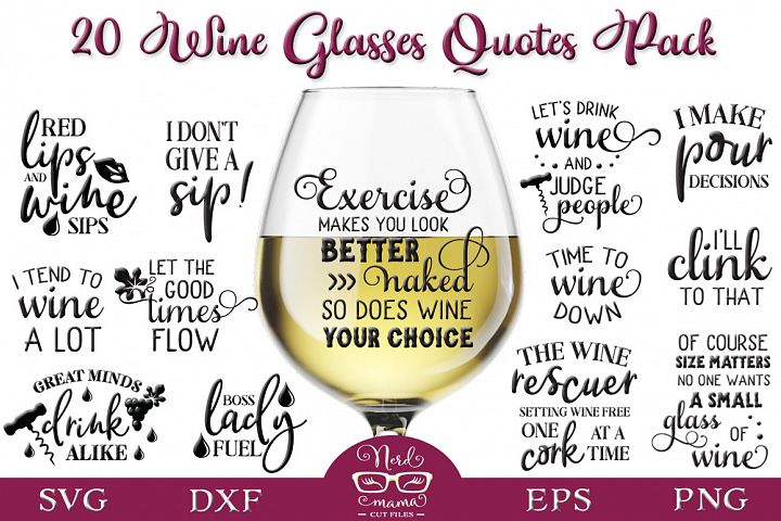 Wine Glasses Quotes Pack