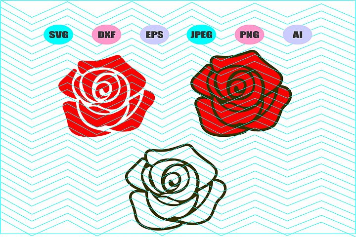 Rose Svg Dxf Eps Png Jpg Ai Cut Vector Vinyl Decal