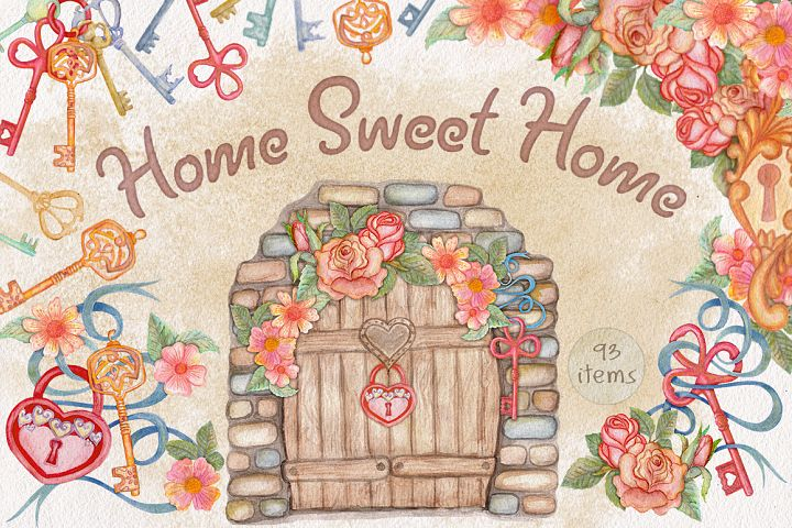 Home Sweet Home. Keys, floral watercolor wonderland collection