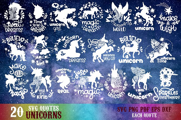 Unicorn svg bundle hand lettered quotes Lettering Magic