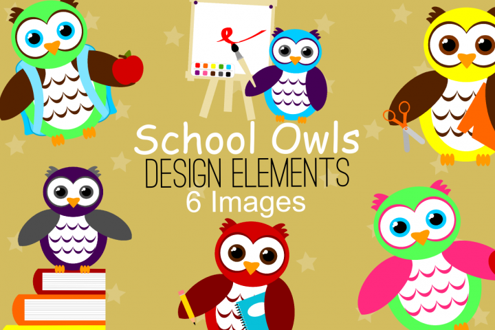 School Owls Graphics, Illustrations, Clipart