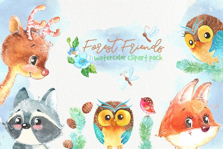 Woodland forest watercolor animals clipart pack. Owl, deer