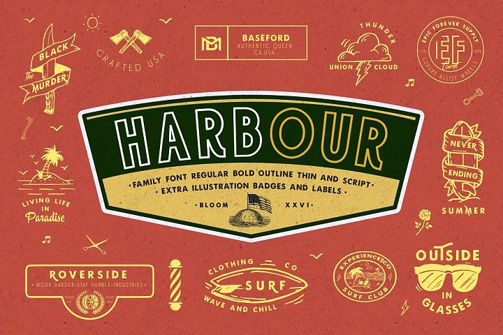 Harbour 5 Font Family & Extra Badges, illustration