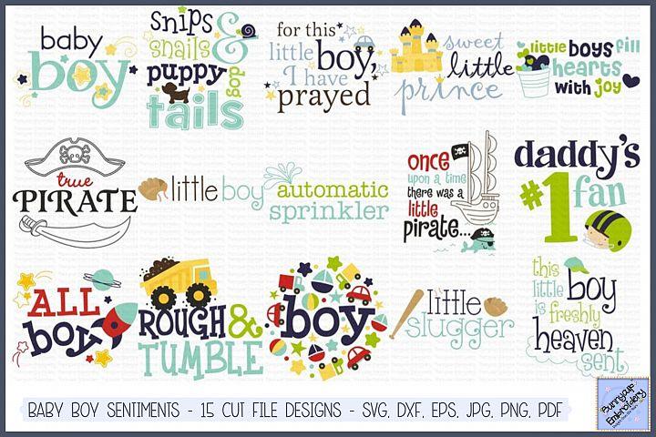 Baby Boy Sentiments - SVG, Cut Files, Clipart, Printables