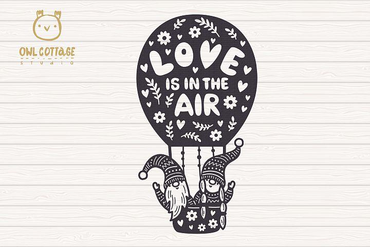Valentine Gnomes svg , Gnome Couple, Valentine Air Ballon example 1