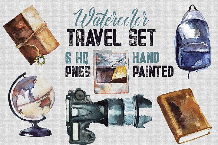 Watercolor Travel Set - 6 Handpainted elements, HQ PNG files