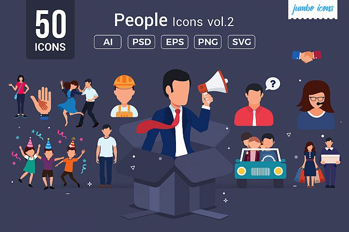 Flat Vector Icons People Set V2