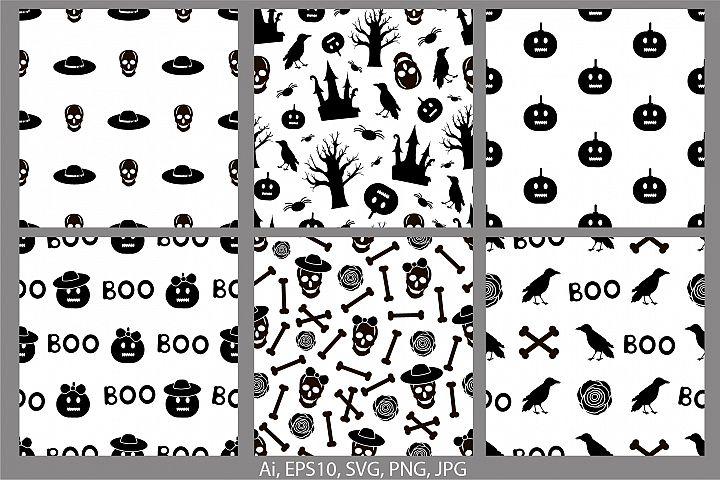 Halloween seamless patterns. Ai, EPS10, JPG, SVG