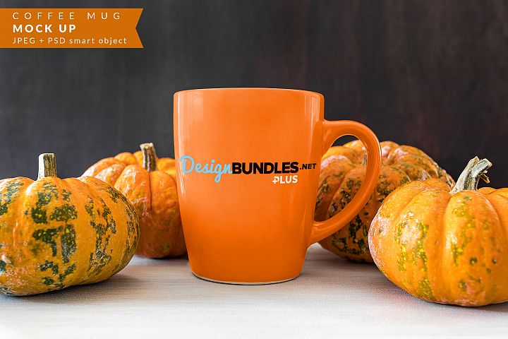 Coffee mug with pumpkins Mock up