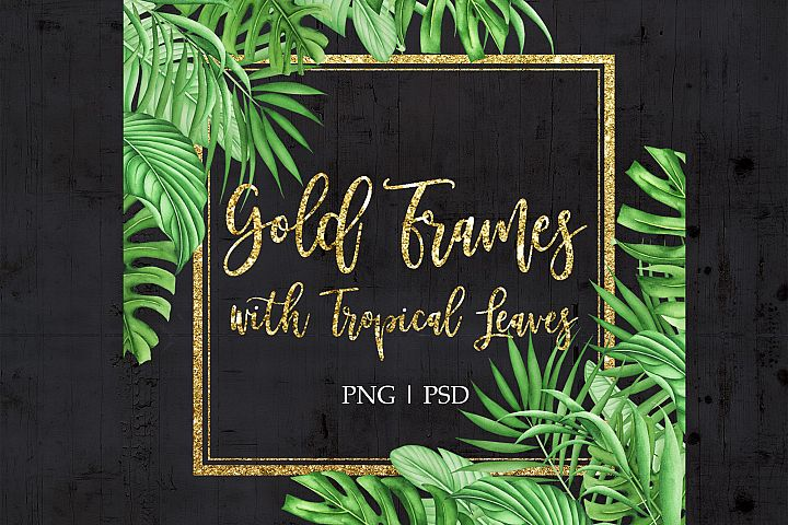 Gold Frame with watercolor tropical leaves