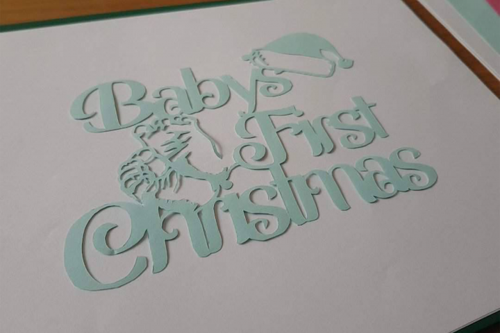 Babys First Christmas Papercutting Template