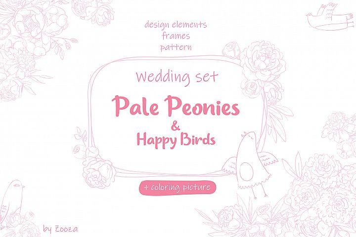 Wedding set - Pale Peonies and Happy Birds