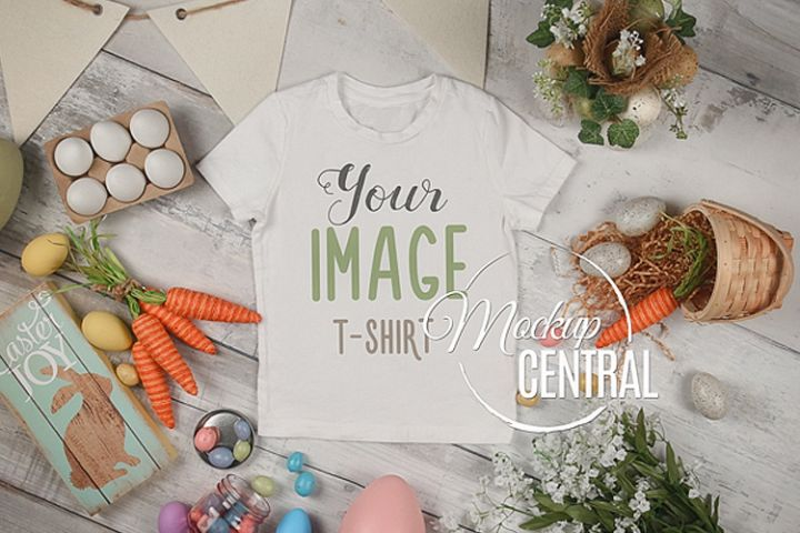 Blank White Easter T-Shirt Top View Apparel Shirt Mockup
