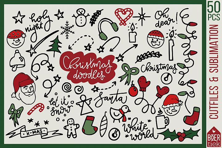 50 hand-drawn Christmas doodles, cutfiles and sublimation