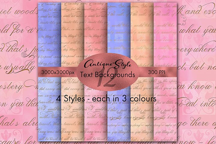 Antique Style Text Backgrounds - 12 Image Set