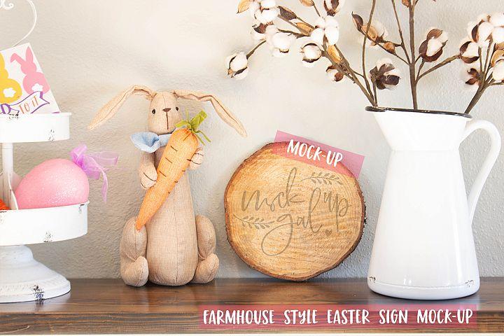 Easter Sign Mock Up - Round Wood Slice No. 3 - Spring Mockup