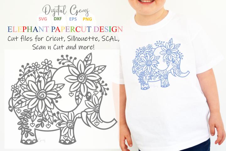 Elephant paper cut design SVG / DXF / EPS / PNG files