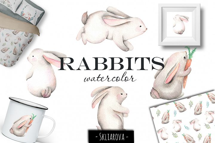 Rabbits. Watercolor clip art.
