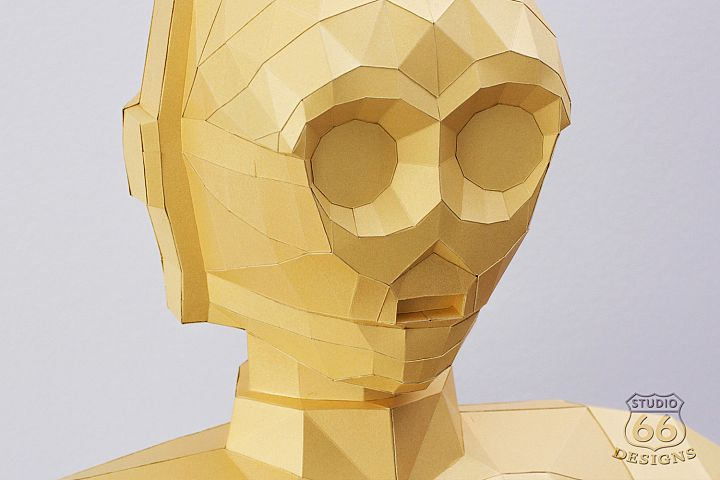 Papercraft Star Wars, C3PO Statue, Papercraft C3PO sculpture