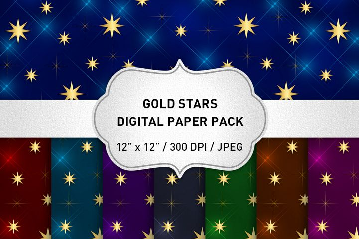 Gold Stars Digital Paper, Stars Background, Christmas Digital Paper, Scrapbooking, Printable, Digital Paper Pack