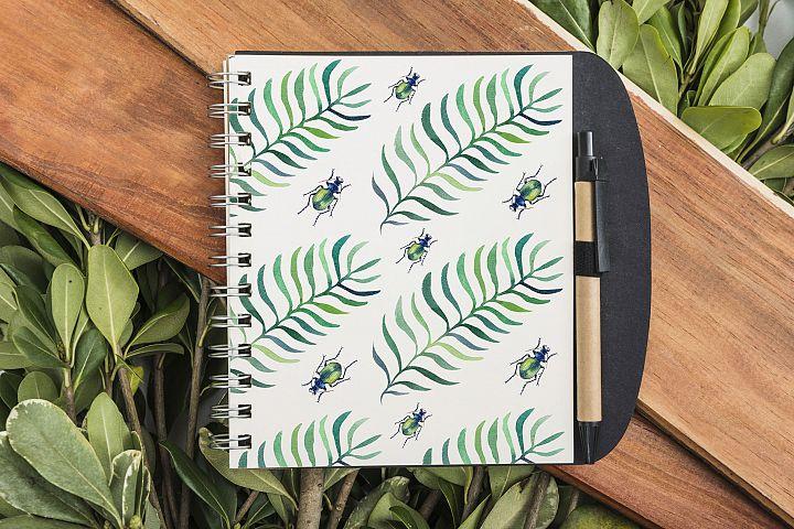 Beetles & Leaves. Watercolor set illustrations example image 11