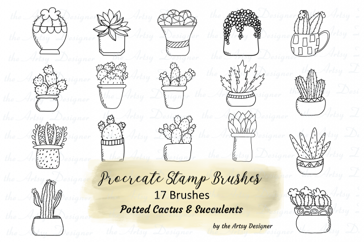 Procreate Brushes Stamps Cactus Succulents Plants Bundle