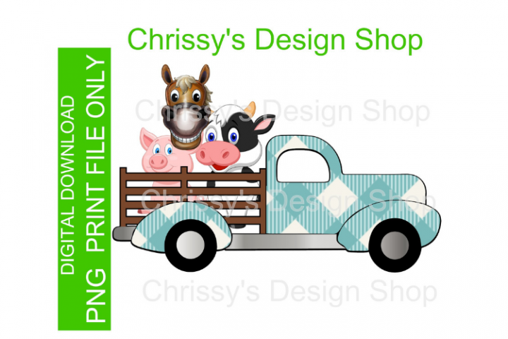 Spring time truck and animals PNG Jpg sublimation print