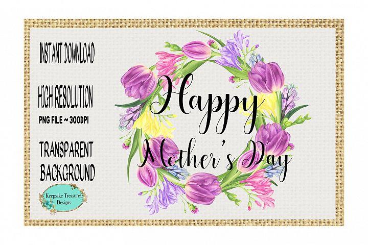 Happy Mothers Day Tulip Wreath