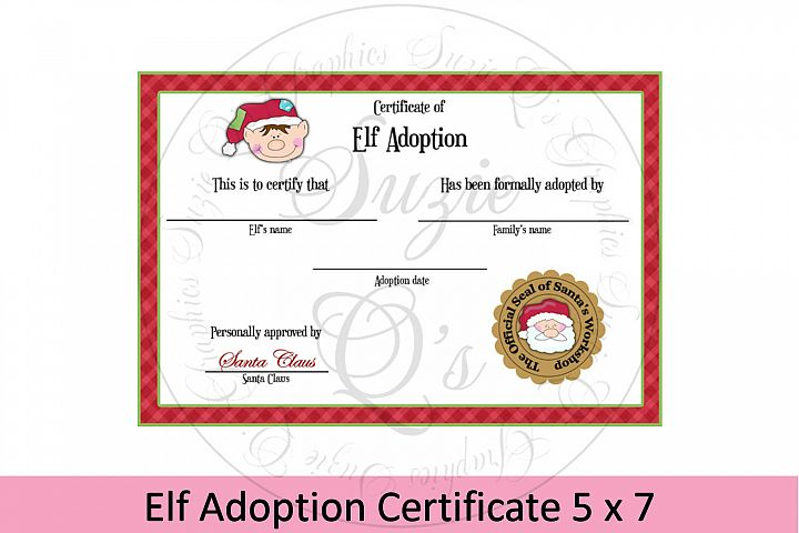 Elf Adoption Certificate 5 x 7 inches
