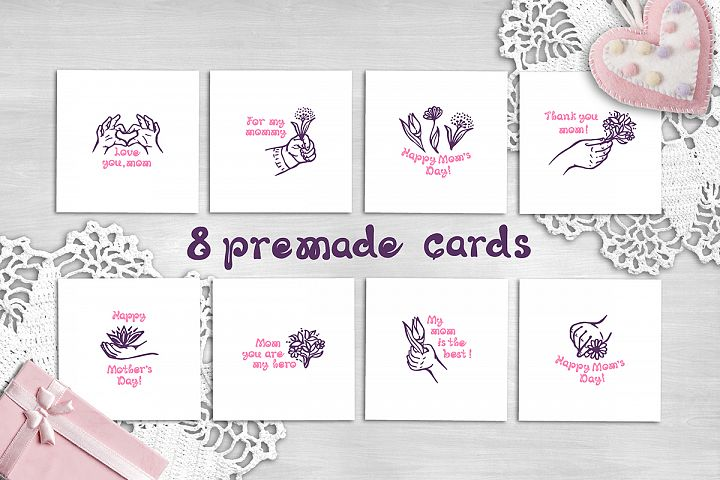 8 hand drawn Mothers Day greeting cards