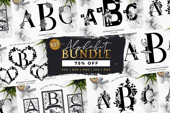 MEGA BUNDLE! 6 x Alphabet Cut Files - SVG | Papercut