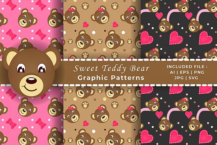 Valentines Baby Teddy Bear Graphic Patterns. SVG, EPS, VECT