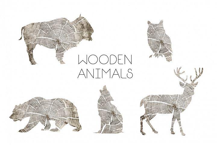 Wooden Animals Vector