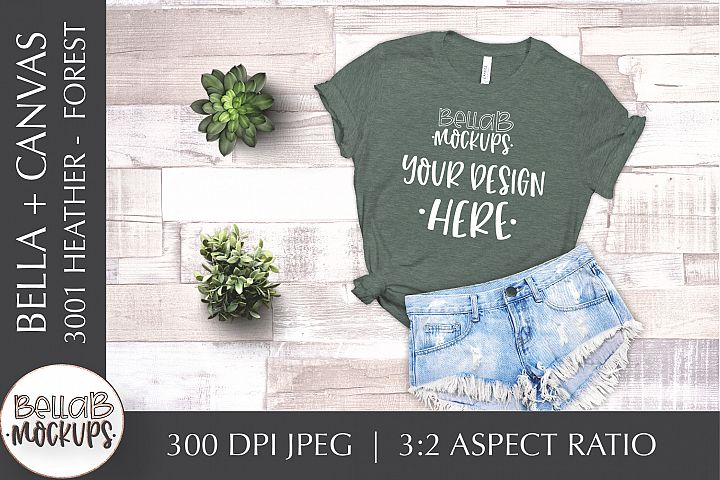Bella Canvas 3001 Heather Womans T Shirt Mockup, Forest