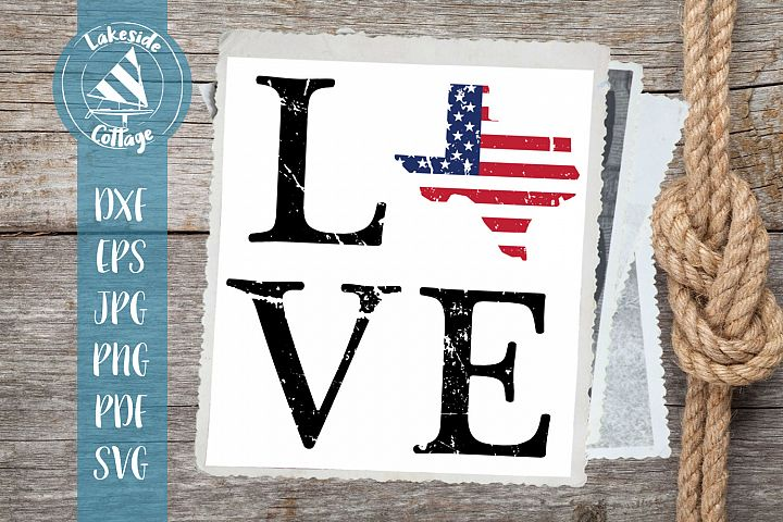 LOVE Texas - 4th of july svg - memorial day svg dxf eps