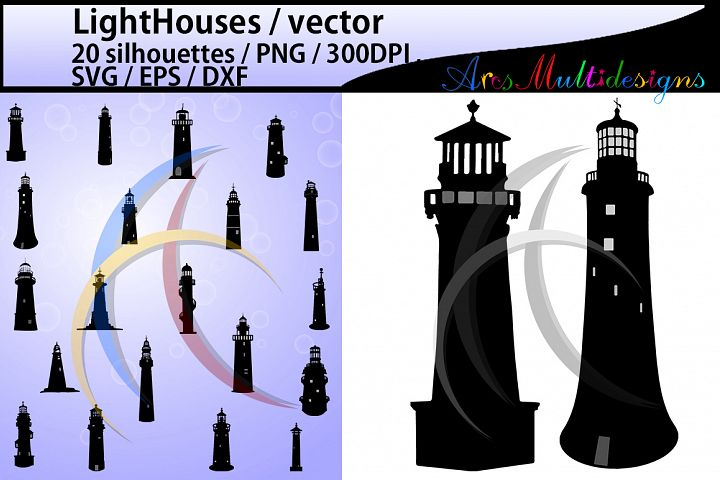 LightHouses silhouette SVG / EPS / PNG / DXf / LightHouse / LightHouses clipart / LightHouses scrapbook design / High Quality / cricut