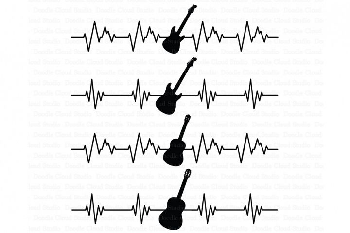 Heartbeat Electric & Acoustic Guitar SVG files for Silhouette Cameo and Cricut.