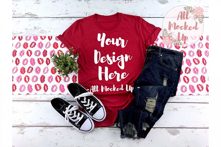 Bella Canvas 3413 shirt Mock Up - Red - Valentines Day