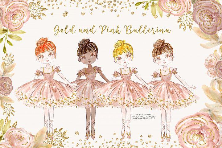 Princess Ballerina Pink Gold clip art