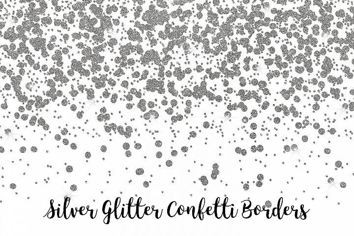 Silver Glitter Confetti Borders