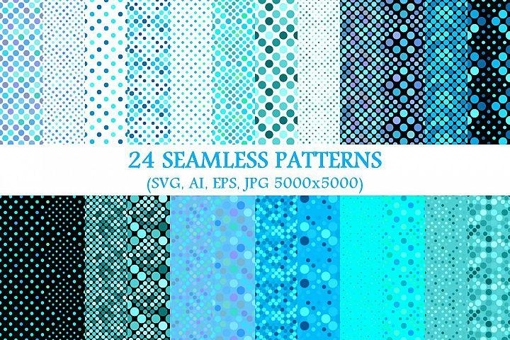 24 Seamless Light Blue Dot Patterns