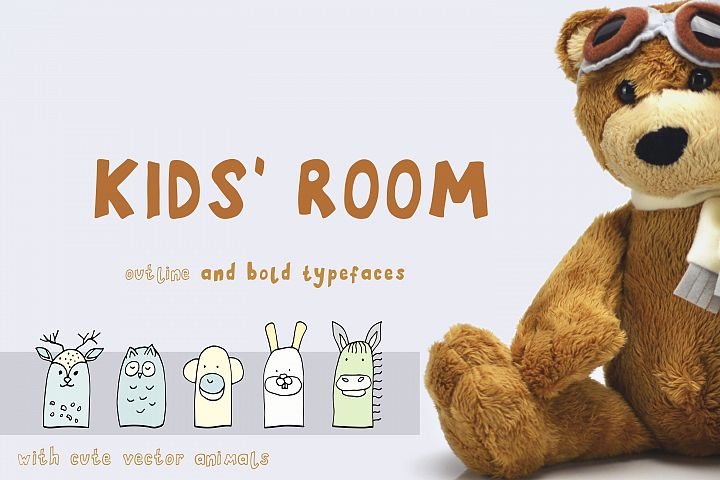 Kids Room typeface with Outline and Solid versions