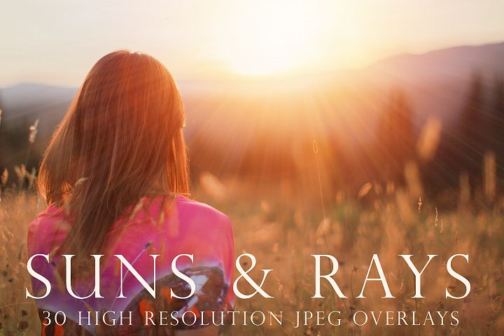 Suns and rays photoshop overlays