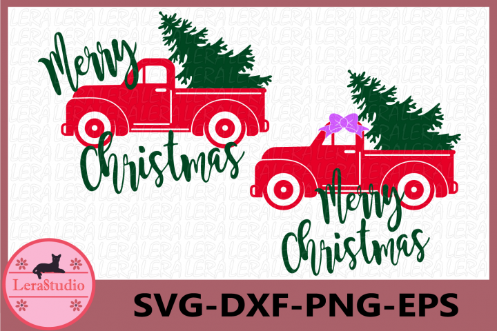 Red truck and Christmas Tree SVG, Merry Christmas, Truck Svg