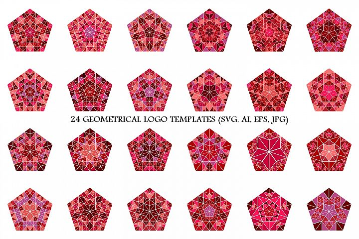 24 Mosaic Pentagon Logo Templates
