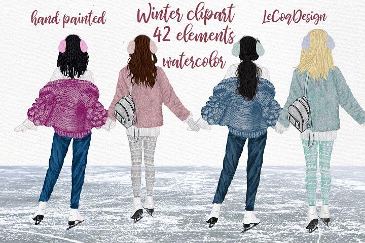 Winter Girls Ice Skating Clipart Planner Girls Best Friend