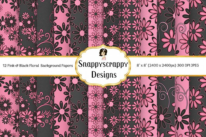 Black and Pink Floral Backround Papers