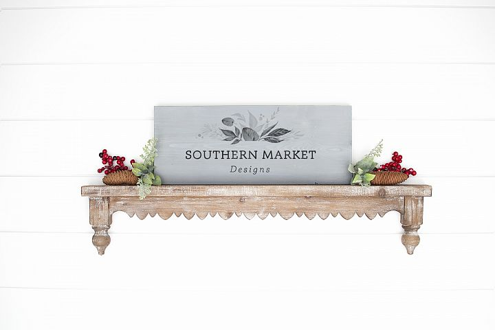 Christmas 8x20 Wood Sign Mock Up Styled Photography
