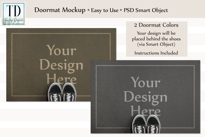 Doormat Mockup, Welcome Mat Mock Up, PSD, Smart Object & JPG