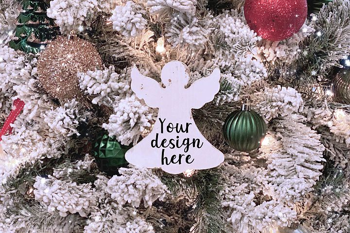 Angel Christmas Tree Distressed Ornament Mock-Up Photo JPG